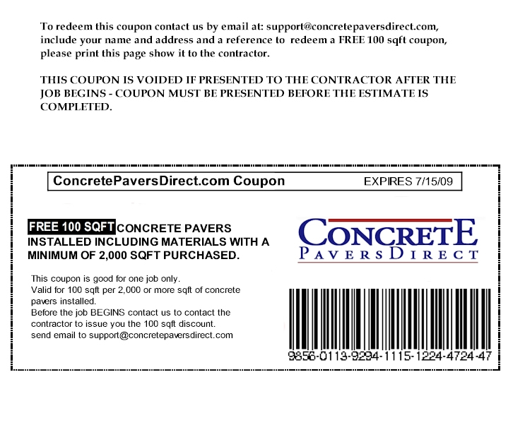 Concrete Pavers Discount Coupon
